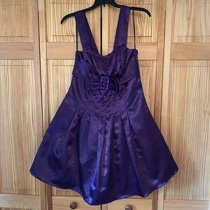 Let's Fashion Purple Ribbon Satin Prom Dress XS